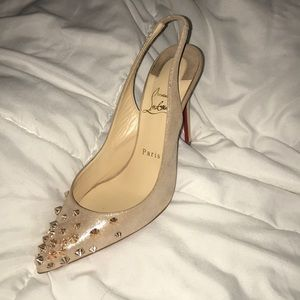 Christian Louboutin Nude studded Rose Gold 37.5